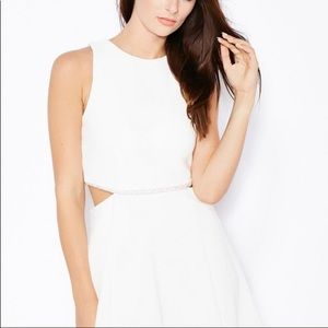 Topshop White Silver Cord Accented Waist Dress